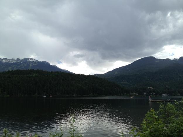 To the left, Blackcomb Mountain, to the right, Whistler Mountain...