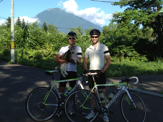 Niseko, Japan - August. The Hawk and Mr Ray Parker (Rapha dog accessory)