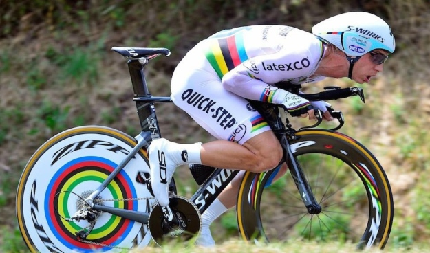 Suspect the only thing that could stop him is a Zipp failure...